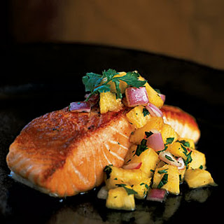 Pan-Grilled Salmon with Pineapple Salsa.