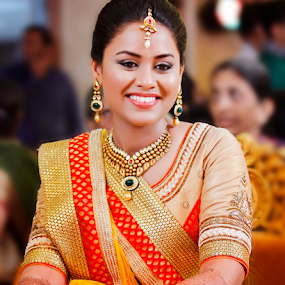 birde by Pravin Dabhade - Wedding Bride ( canon, red, wedding, happy, indian, yellow, bride )