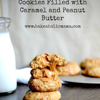 Brown Butter Oatmeal Cookies Filled With Caramel and Peanut Butter