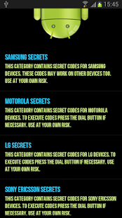 Android Secret Codes - screenshot thumbnail