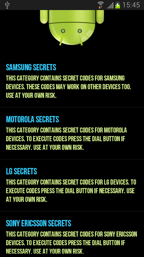 Android Secret Codes - screenshot