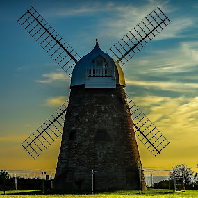 Halnaker windmill by Bela Paszti - Buildings & Architecture Other Exteriors ( west sussex, england, halnaker, sunset, landscape, windmill,  )
