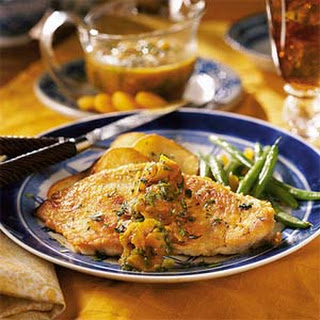 Apricot Chicken with Roasted Potato Thins