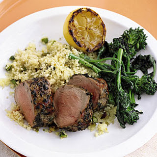 Grilled Pork and Broccoli Rabe with Pistachio Couscous.