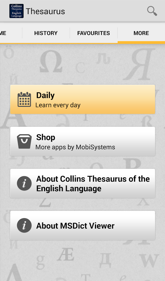 Collins Thesaurus English TR- screenshot