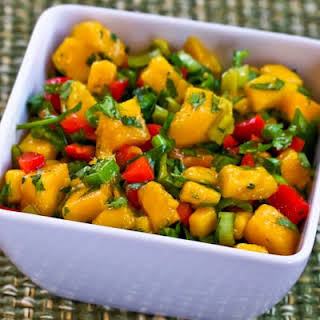 Mango Peperoncini Salsa with Red Bell Pepper, Lime and Cilantro.