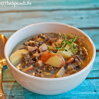 Chicken & Wild Rice Soup with Potatoes and Mushrooms.