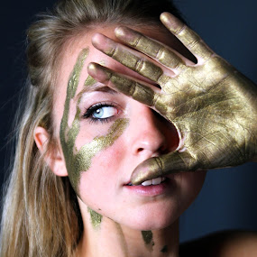 Golden Girl by Erica Thorpe - People Portraits of Women ( abstract, blonde, editorial, precious, gold )