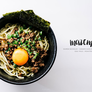 Ramen Noodles with Sesame Ginger Garlic Beef, Savoury Miso Gravy, Fresh Egg Yolk, and Roasted Nori