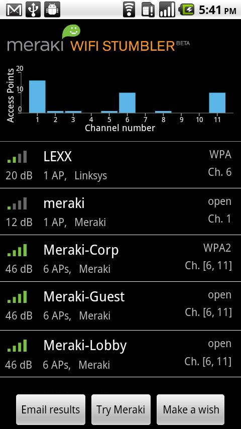Meraki WiFi Stumbler - screenshot