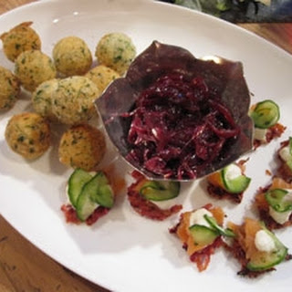 Goats' Cheese Bites And Smoked Salmon On Beetroot Rosti