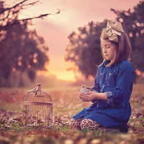 The Altruist by Shaun Poston - Babies & Children Children Candids ( bird, child, portraiture, shaun poston, creative, colorful, sunset, fine art, children, cage, portrait )
