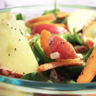 Apple, Pecan, Cranberry, and Avocado Spinach Salad with Balsamic Dressing.