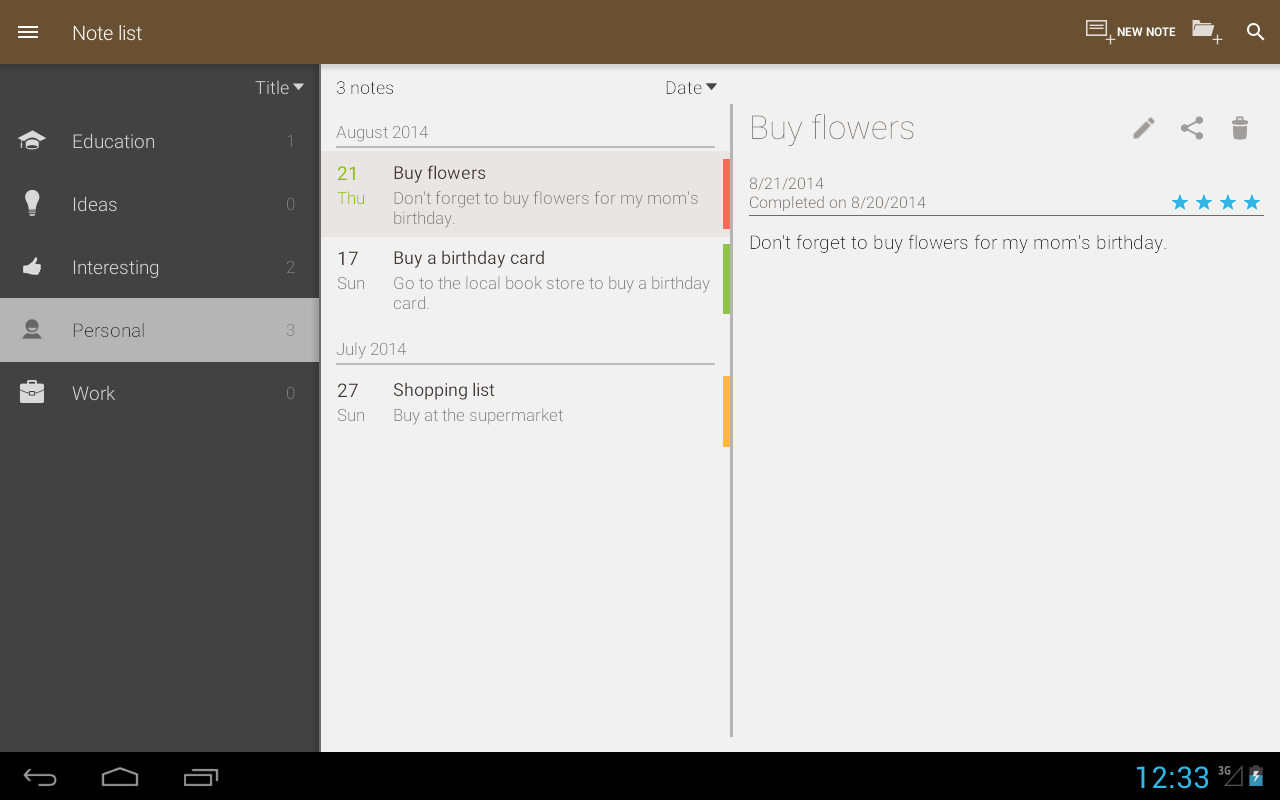 Notes - Note list - screenshot