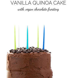 Vanilla Quinoa Cake with Vegan Chocolate Frosting.