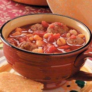 Hominy Meatball Stew Recipe.