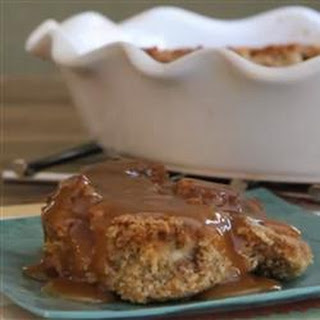 Pumpkin Bread Pudding with Caramel Rum Sauce