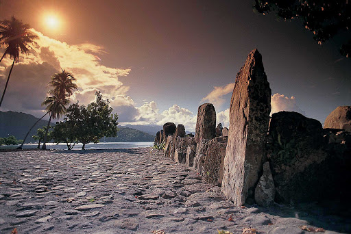 """Throughout the island of Raiatea you will find a number of legend-filled temples, or """"marae."""""""