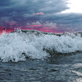 Pink Waves by Jeremy Church - Landscapes Waterscapes ( clouds, water art, michigan, lake michigan, waves )