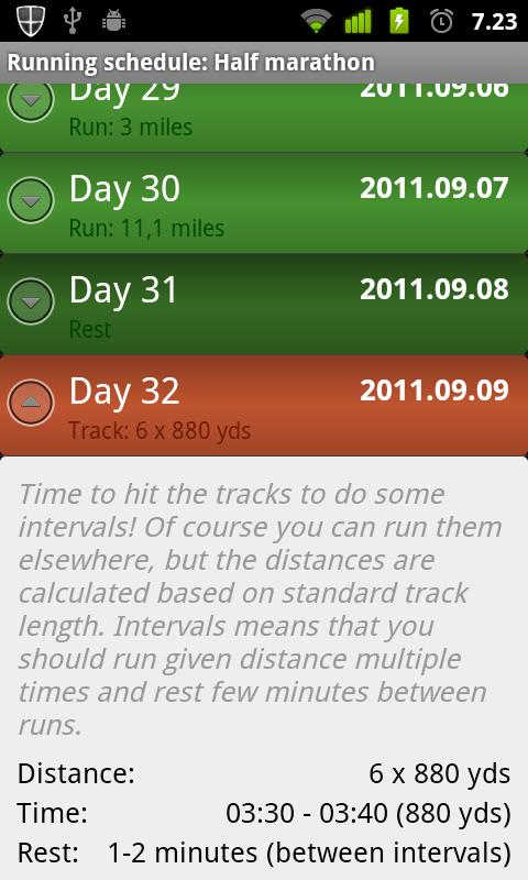 Running Schedule - screenshot