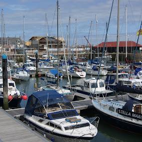 Fishing Pier. by Robin Watson - Transportation Boats ( water, fishing pier, scotland, fishing boats, sunny )