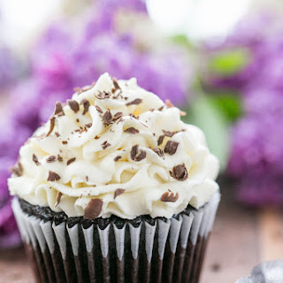 Dark Chocolate Cupcakes with White Chocolate Frosting.