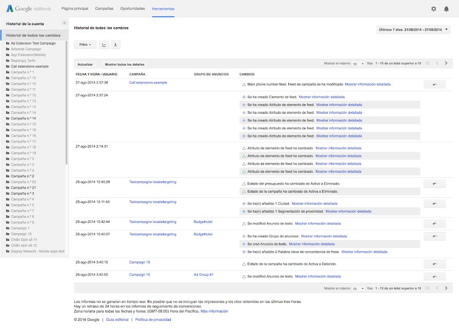Consultar el historial de la cuenta - Anterior - Ayuda de Google Ads