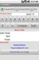 Screenshot of Calcula el IGV