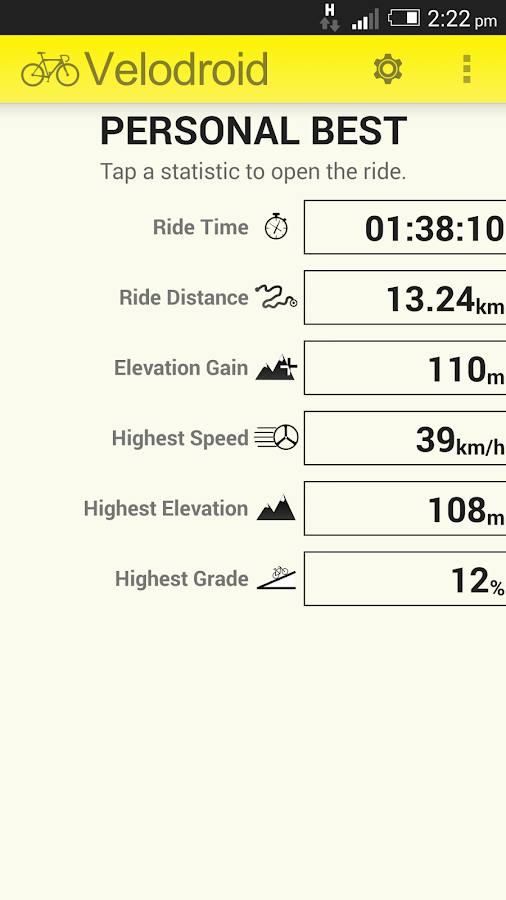 Velodroid GPS Bike Computer - screenshot