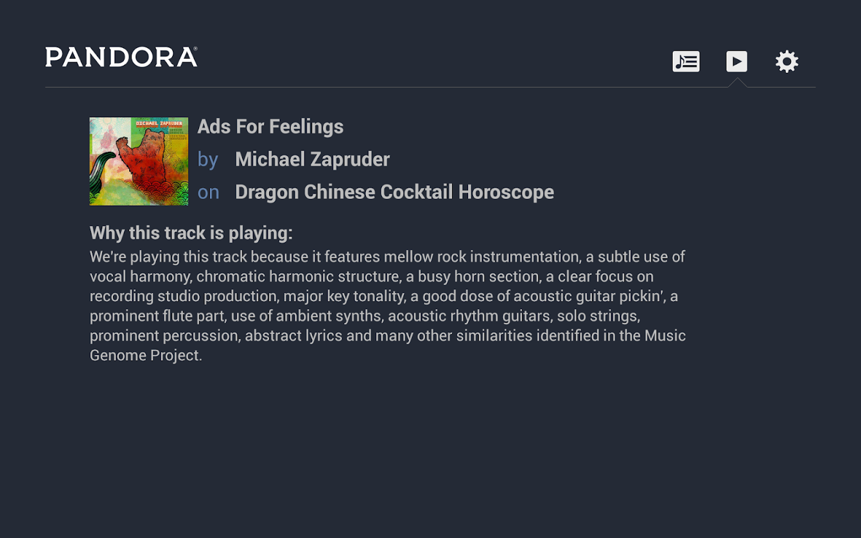 Pandora® Radio for Google TV- screenshot