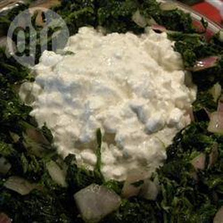 Ethiopian Wilted Spinach with Cottage Cheese.
