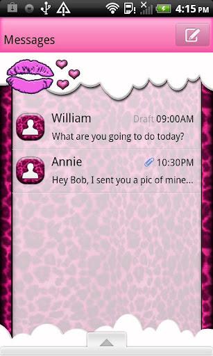 GO SMS THEME KissNLeopardCloud
