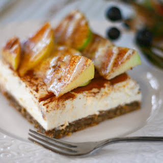 Healthy Apple Pie Cheesecake with Maple-Nutmeg Drizzle