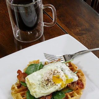 Waffles With Eggs, Bacon, And Spinach.