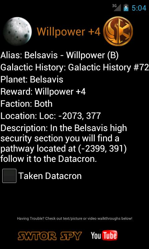 SWTOR Datacron Helper Pro - screenshot