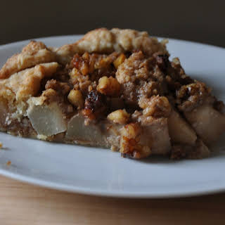 Rustic Pear Tart with Walnut Streusel Topping.