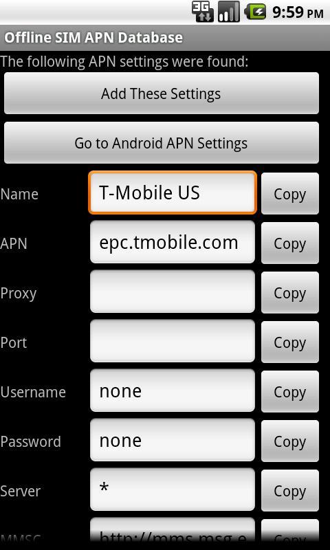 Offline SIM APN Database- screenshot