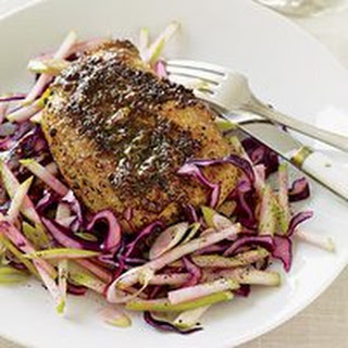 Pork Chops with Honey-Mustard Gravy and Apple Slaw