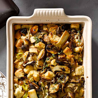 Focaccia Stuffing with Leeks and Wild Mushrooms.