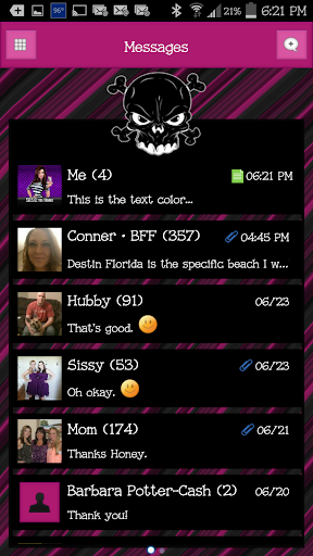 GO SMS - Luv Skulls 7