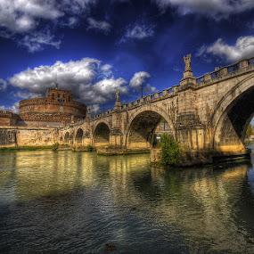 Quanto sei bella Roma... by Luigi Alloni - Buildings & Architecture Bridges & Suspended Structures ( clouds, sky, hdr, rome, reflections, bridge, tiber, river )