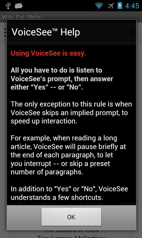 Wiki Pal™ (voice browser) - screenshot