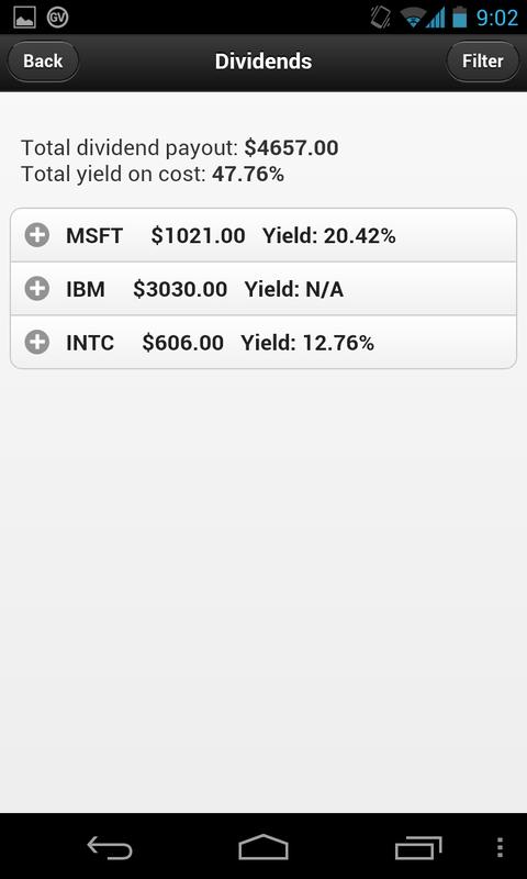 Dividend Tracker- screenshot