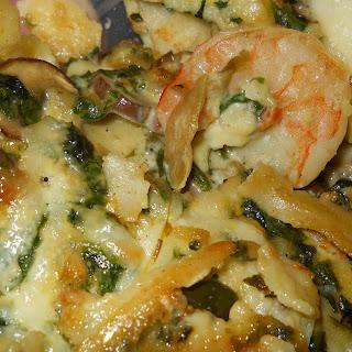 Shrimp, Spinach and Mushroom Enchiladas.