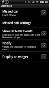 Missed Call smart extension- screenshot thumbnail