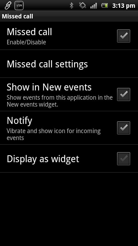 Missed Call smart extension - screenshot