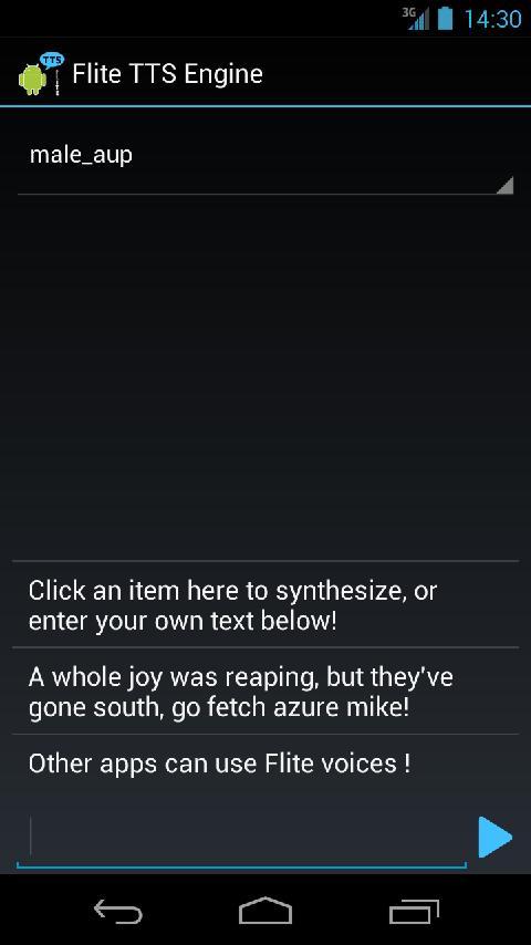 CMU Flite Text to Speech- screenshot