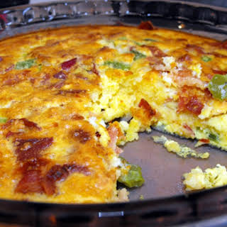 Quick and Easy Bacon Cheddar Breakfast Pie.