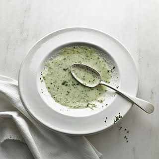 Chilled Cucumber Soup with Mint Leaves.