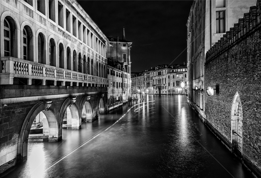 Pompieri Venezia by Blaž Poljanšek - City,  Street & Park  Night ( venezia, trace, buildings, venice, night )